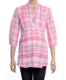 Uzazi Maternity Top Checkered Pattern - Pink