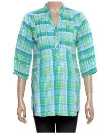 Uzazi Maternity Top Checkered Pattern - Green