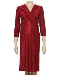 Uzazi Long Sleeves Maternity Evening Wear Dress - Maroon