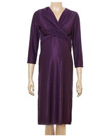 Uzazi Long Sleeves Maternity Evening Wear Dress - Violet