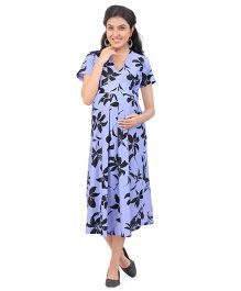 Uzazi Knitted Maternity Dress Floral Print - Blue And Black