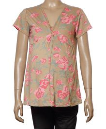 Uzazi Half Sleeves Floral Print Maternity Top - Fawn And Pink