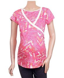 Uzazi Half Sleeves Printed Maternity Top - Pink