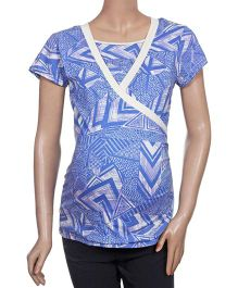 Uzazi Half Sleeves Printed Maternity Top - Blue