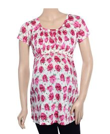 Uzazi Short Sleeves Floral Print Maternity Top - Rose Pink And White