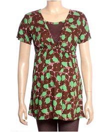 Uzazi Nursing Top Short Sleeves - Brown