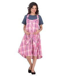 Uzazi Halter Neck Nursing Dungaree With T-Shirt - Pink And Grey