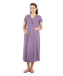 Uzazi Half Sleeves Printed Maternity Nursing Dress - Purple