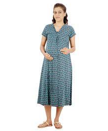 Uzazi Half Sleeves Printed Maternity Nursing Dress - Blue