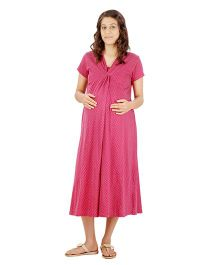 Uzazi Half Sleeves Printed Maternity Nursing Dress - Pink