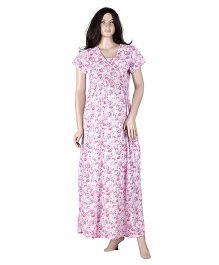 Uzazi Full Length Printed Nighty - Pink