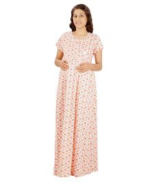Uzazi Full Length Printed Nighty - Orange