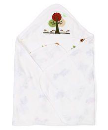 Ohms Hooded Bath Towel Tree Patch - White