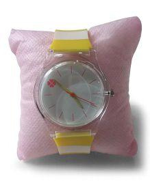 Aakriti Creations Trendy Stripes Slim Analog Watch - Yellow & White