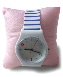 Aakriti Creations Trendy Stripes Slim Analog Watch - White & Blue