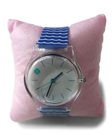 Aakriti Creations Trendy Stripesslim Analog Watch - Blue & White