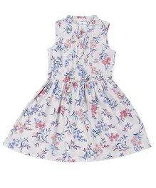 Carters Sleeveless Floral Printed Frock - White