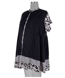 Kriti Ethnic Maternity Chinese Collar Kurta - Black