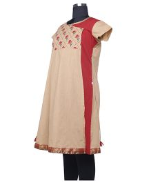 Kriti Ethnic Maternity Over Flap Style Kurta - Beige