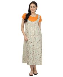 Kinetic Half Sleeves Dungaree Style Nighty - Cream & Orange