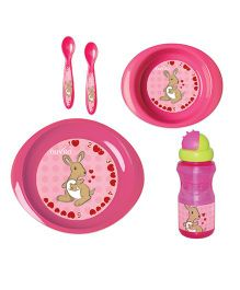 Nuvita Weaning Set Kangaroo Design Pink - 5 Pieces