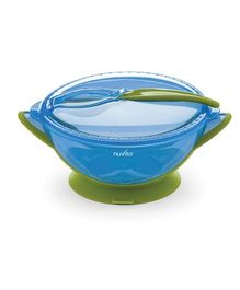 Nuvita Bowl With Lid Spoon & Suction Cup - Blue