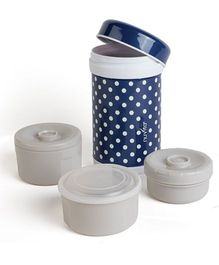 Nuvita Stainless Steel Thermal Food Container With 3 Internal Containers Navy Blue - 1200 ml