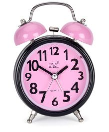 Round Shape Alarm Clock - Pink Black