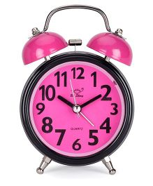 Round Shape Alarm Clock - Dark Pink Black