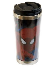 Spiderman Glitter Stainless Steel Travel Glass Black Red - 450 ml