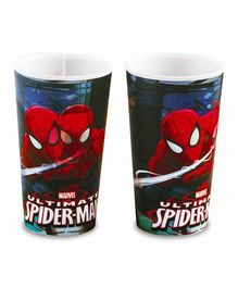 Spiderman Printed Glass Pack of 2 Red Black - 700 ml