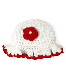 Mayra Knits Rose Cap - White & Red