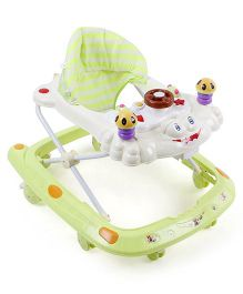 Musical Baby Walker With Cushioned Seat - Green Cream