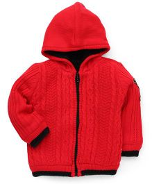 Yellow Apple Full Sleeves Hooded Sweater - Red