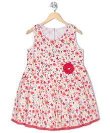 Budding Bees Girls Fit & Flare Dress - Off White & Multicolour