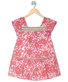Budding Bees Girls Embroidered A-Line Dress - Pink