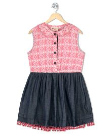 Budding Bees Girls Printed Chambray Fit & Flare Dress - Pink & Navy Blue