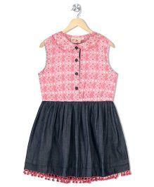 Budding Bees Girls Printed Chambray Fit & Flare Dress - Pink & Black