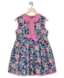 Budding Bees Girls Gathered Dress - Blue Pink & Green