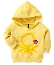 UCB Full Sleeves Hooded Sweatshirt Patch Detailing - Yellow
