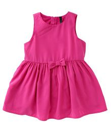 UCB Sleeveless Frock With Bow Applique - Pink