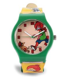 Fantasy World Chacha Chaudhary Print Analog Wrist Watch - Green & Yellow