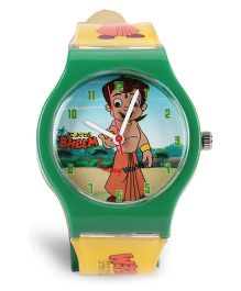 Fantasy World Chhota Bheem Print Analog Wrist Watch - Green & Yellow