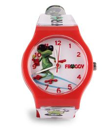 Fantasy World Froggy Print Analog Wrist Watch - White & Red
