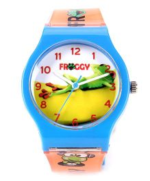 Fantasy World Froggy Print Analog Wrist Watch - Orange & Blue