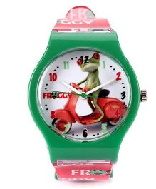 Fantasy World Froggy Print Analog Wrist Watch - Red & Green