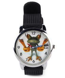 Fantasy World Froggy Print Analog Wrist Watch - White & Black