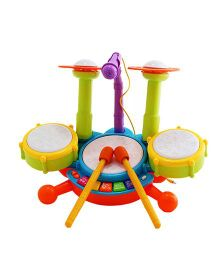 Emob Dynamic Jazz Fun Beats Musical Drum Set With Mic - Multicolor