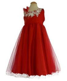 Simply Cute Floral Lace Dress With Pearls - Red