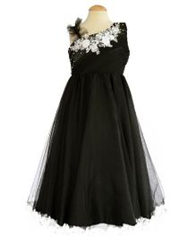 Simply Cute Floral Lace Dress With Pearls - Black